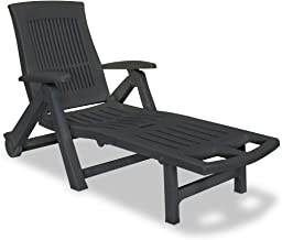 vidaXL Sun Lounger with Footrest Plastic Weather Resistant Slatted Design Adjustable Outdoor Sun Bed Deck Porch Recliner P...