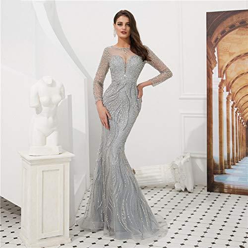 BINGQZ Vestito Cocktail/Abiti da Sera a Sirena con Perline di Cristallo a Maniche Lunghe Trasparenti Abiti da Cerimonia Eleganti Grigi Abiti da Sera