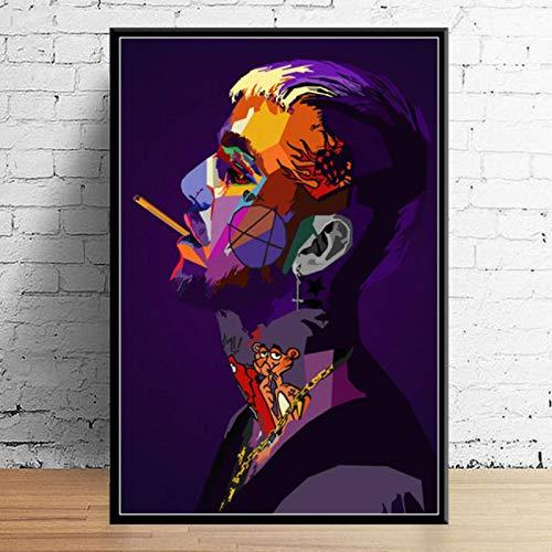 lubenwei Juice Wrld J Cole Post Malone Mac Miller Travis Scoot Rapero Hip Hop Estrella Arte decoración Lienzo decoración del hogar Cartel decoración de la Pared 40x60cm Sin Marco (WA-1632)