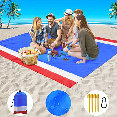 "GZTLJ Beach Blanket,Picnic Blanket Large Sand Free Compact for 7 Persons Water Proof Quick Drying Beach Mat Made by Premium Nylon Pocket Picnic Sheet for Outdoor Travel (78"" X 81"") (red)"