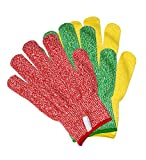 3 Pack TruChef Cut Resistant Gloves - Maximum Level 5 Protection, Food Grade, 3 Fun Colors, Fits...