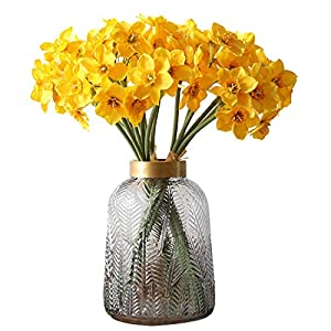 Calcifer 2 Bunches Silk Artificial Daffodils Bulbs Flowers Bouquet for Home Garden Wedding Party Decoration (Style B, Yellow)