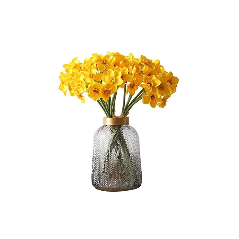 silk flower arrangements calcifer 2 bunches silk artificial daffodils bulbs flowers bouquet for home garden wedding party decoration (style b, yellow)