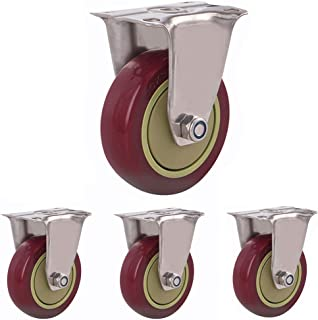 Rubberen zwenkwielen Trolley Meubelbeker met remmen 360 graden zwenkwiel 75/100/125mm slijtvast 4 stks
