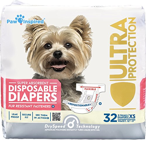 Paw Inspired 32ct Disposable Dog Diapers | Female Dog Diapers Ultra Protection | Diapers for Dogs in Heat, Excitable Urination, or Incontinence (X-Small)