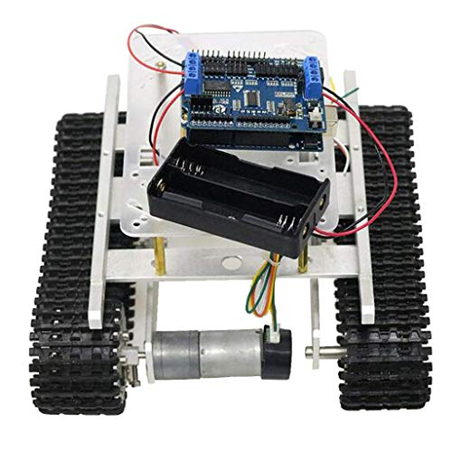 HYY-YY Arduino + WiFi Control Aluminum Alloy Strong Motor Tank Car Chassis Track Crawler Kit With Two Motor for Arduino DIY Robot Science Educational Toy Speed Motor