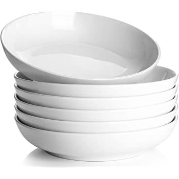 Y YHY Pasta Bowls,Large Salad Serving Bowls,White Soup Bowl Microwave Safe,Sturdy Porcelain,30 Ounces,Set of 6