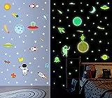 Pegatina de Pared Planet Luminosa, Pegatina de Pared Fluorescencia Cohete y Planeta, Bricolaje Pegatinas Decoracion de Espacio, Adhesivos Decoración para Hogar Kids Room Decor del Dormitorio