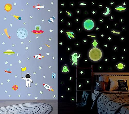 Pegatina de Pared Planet Luminosa, Pegatina de Pared Fluorescencia Cohete y...