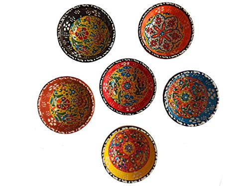 Ayennur Decorative Turkish Ceramic Bowl Set of 6 Serving Plate-Handcrafted Pinch Multicolor Finger Small Serving Bowls
