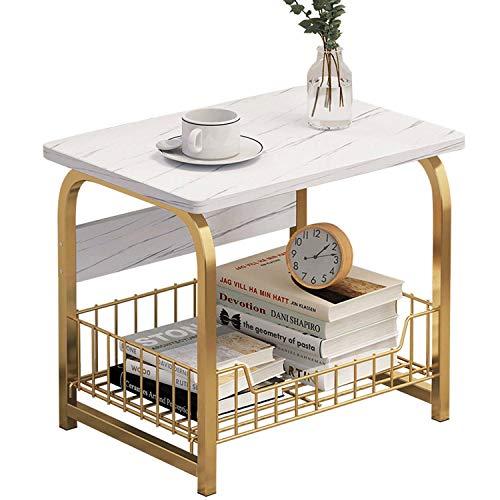 Bueuwe Tavolini da Soggiorno Design, Tavolinetto da Salotto Moderno per Divano, Tavolino Basso Vintage in Legno E Metallo, Tavolinetti Cucina con Funzione Contenitore