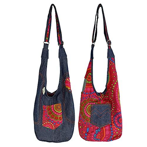 Sunsa Bolso para niña, bolso de hombro pequeño, bolsa de tela impresa, bolsa de deporte para niños, bolsa de deporte para guardería, de algodón, vaqueros, regalo de cumpleaños.