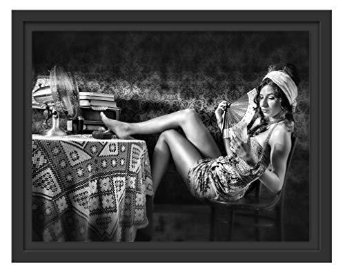 Picati vrouw waaier en drank, in schaduwvoegen fotolijst | kunstdruk op hoogwaardig galeriekarton | hoogwaardige afbeelding op canvas 38x30