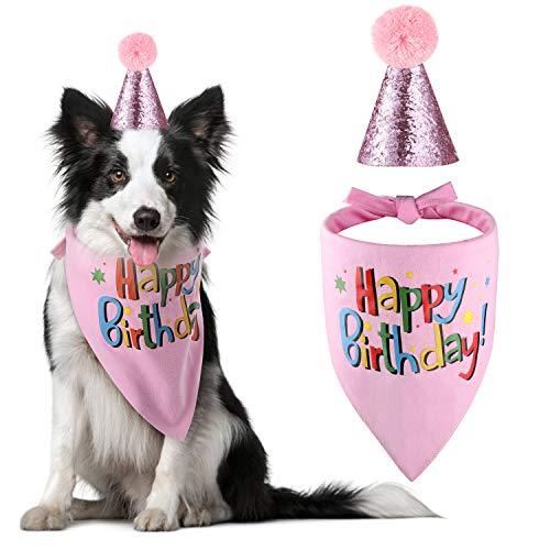 Blaoicni Hunde-Halstuch, Hut, Schal, Partyzubehör, Medium, Pink-Girl