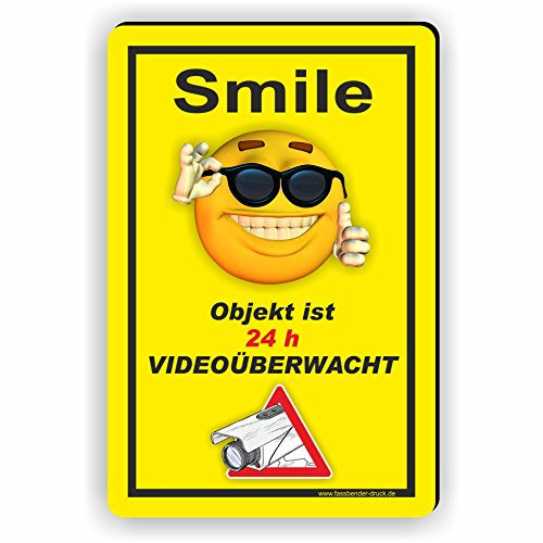 Fassbender-Druck SCHILDER Smile Objekt ist videoüberwacht - Videoüberwachung Schild/VÜ-011 (10x15cm Schild)