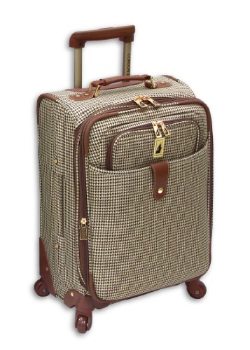 London Fog Luggage Chelsea 21 Inch 360 Expandable Upright Suiter, Olive Plaid, One Size
