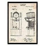 Nacnic Poster con Patente de Nevera Cerveza. Lámina con diseño de Patente Antigua en tamaño A3 y con...