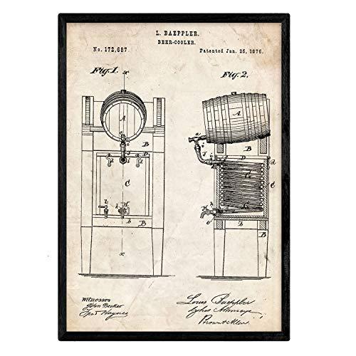 Nacnic Poster con patente de Nevera cerveza. Lámina con diseño de patente antigua en tamaño A3 y con fondo vintage