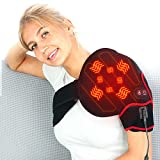 CREATRILL Infrared Shoulder Heating Pad with Vibration Massager for Pain Relief, Auto Off Electric Heated Wrap Brace for Shoulder Injuries Blade Pain, Arthritis, Tendinitis, Frozen Shoulder,(S/M/L)