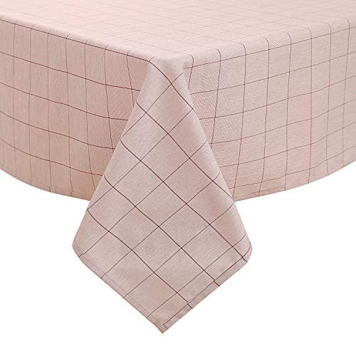 Deconovo, tafelkleed, linnenlook, waterafstotend, eetkamer, polyester, rood, wit, 130 x 280