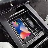 Consola central Caja de almacenamiento con reposabrazos con carga inalámbrica para Tesla Model S y Model X Cargador inalámbrico apto para iPhone X/8/8p, Samsung Galaxy Note 8 S8 Plus S8 S7