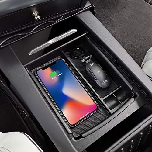 Aufbewahrungsbox für die Mittelkonsole von TeslaOwner mit kabellosem Ladegerät für iPhone X, iPhone 8,iPhone 8Plus, Samsung Galaxy Note 8,S8Plus, S8 undS7