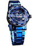 Forsining Steampunk Men's Watch Luxury Blue Skeleton Stainless Steel Hand-Winding Classic Mechanical Wrist Watch Diamond Rome Number Design
