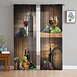 Sheer Curtains 63 inches Long Voile Drapes Grommet Window Treatment Panels Light Glare Filtering for Patio Kitchen Bedroom Living Room, Country Style Wine and Fresh Grapes with Wooden Barrels