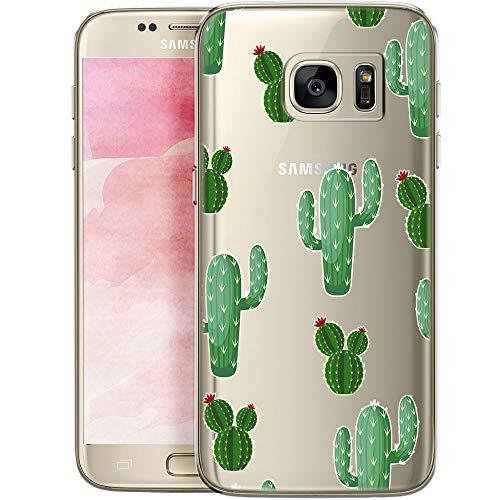 Fundas para iPhone QULT Compatible con Samsung Galaxy S7 Edge – Funda de Silicona Transparente con Lindos Motivos – Fundas iPhone Ultra Finas Cactus con Flores