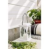 KAMACA Farol LED en blanco con LED – Vela parpadeante – con temporizador – para interior y exterior – Farol colgante de jardín para interior y exterior (farol LED blanco 23 x 13,5 cm)