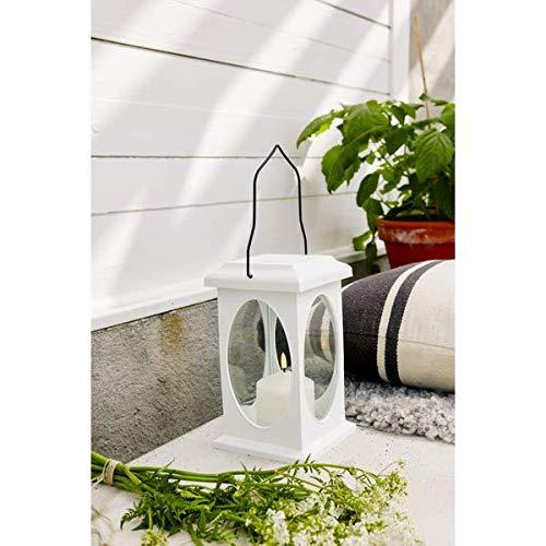 KAMACA LED Laterne in Weiss mit LED - Kerze flackernd - mit Timer - für Innen und Außen - hängende Gartenlaterne Indoor Outdoor (LED Laterne weiss 23x13,5 cm)