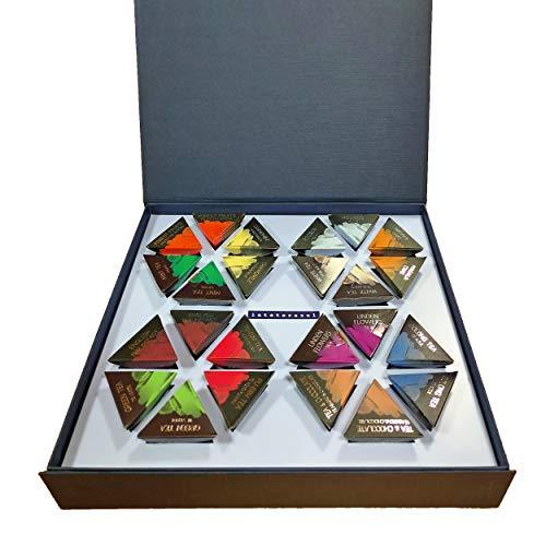 LA TETERA AZUL Pack De Tés E Infusiones. Caja Surtida De Infusiones Variadas. Set ideal para regalo. 24 Pirámides Envueltas Individualmente.