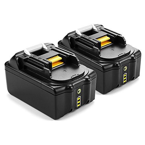 Preisvergleich Produktbild 2 Stück Energup 18V 5000mAh Lithium-Ionen Ersatz Akku für Makita 18V BL1860 BL1850 BL1840 BL1830 BL1820 BL1815 BL1820B BL1815B LXT400 Werkzeugakkus mit LED Indikator