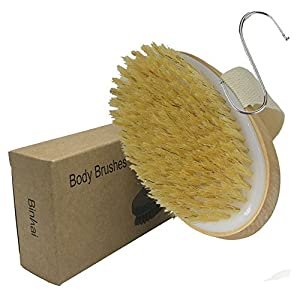 BINHAI Body Brush, Dry Skin Brushing Bath Exfoliating Brushes Natural Bristle Remove Dead Skin And Toxins Cellulite Treatment Improves Lymphatic Functions Exfoliates Skin's
