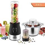 YISSVIC 3 IN 1 Standmixer mini Entsafter Smoothie Maker für Obst und Gemüse aus Edelstahl 500W...