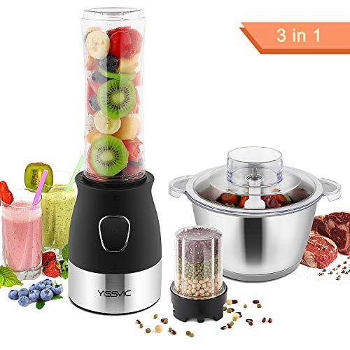 YISSVIC 3 IN 1 Standmixer mini Entsafter Smoothie Maker für Obst und Gemüse aus Edelstahl 500W 600ML für Smoothie, Saft, Shakes (Verpackung MEHRWEG)