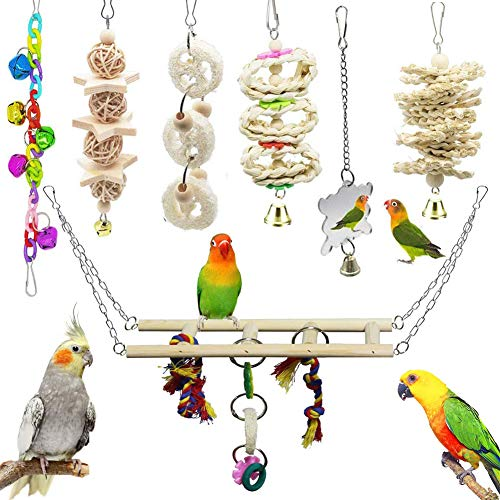 7 Pcs Bird Parrot Toys, ESRISE Hanging Bell Pet Bird Cage Hammock Swing Climbing Ladders Toy Wooden Perch Mirror Chewing Toy for Small Parrots, Conures, Love Birds, Small Parakeets Cockatiels, Macaws,