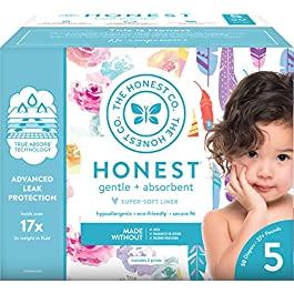 The Honest Company Club Box Diapers with TrueAbsorb Technology, Teal Tribal & Space Travel
