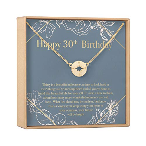 30th Birthday Gift Necklace: Birthday Gift, Jewlery Gift For Her (Compass Gold)