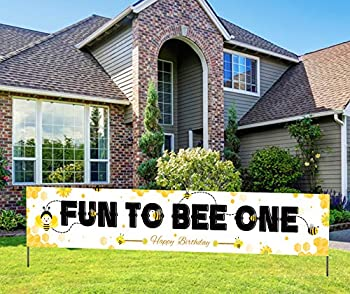 Fun To Bee One Banner Bee Themed 1st Birthday Banner Bumble Bee Fun To Bee One First Birthday Party Supplies  9.8 x 1.6 feet