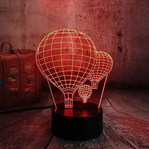 3Dluz de la noche3DLámpara de mesa7globo de aire caliente que cambia de colorLEDnoche de sueño ilusión óptica regalo de luz creadora de San Valentín día para niños