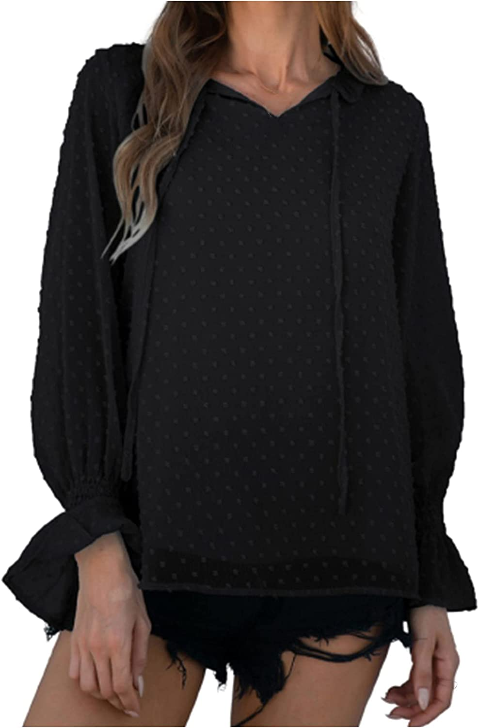 Chiffon Blouses for Women V-neck Solid Color Loose Flared Long Sleeve Fashion Elegant Drawstring Top Blouse