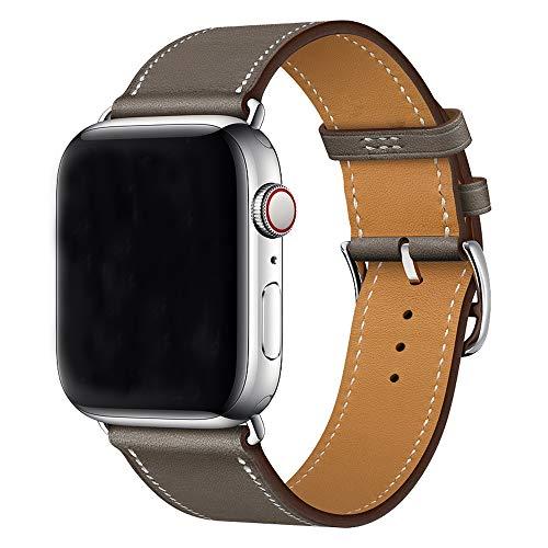 XCool Compatible avec Bracelet iWatch 42mm 44mm, Cuir Gris Single Tour Bande de Remplacement pour iwatch Se Series 6 Series 5 Series 4 Series 3