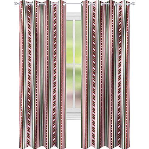 Cortinas opacas para ventana, rayas verticales con puntos, diseño de círculos geométricos, bandas de contraste de 52 x 63 cm, cortina de oscurecimiento para sala de estar, multicolor