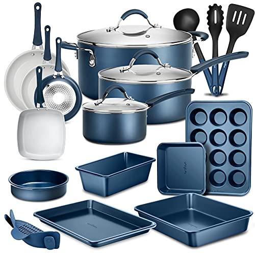 NutriChef 20-Piece Nonstick Kitchen PTFE/PFOA/PFOS-Free Heat Resistant Silicone Handles Cookware Bakeware Set w/Saucepan, Frying Pans, Cooking, Oven Pot, Lids, Utensil, Blue-NCCW20SBLU, One Size, Navy