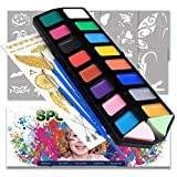 Professional Face Paint Kit for kids, FDA Compliant,Safe and None Toxic,Brushes+Stencils+T...
