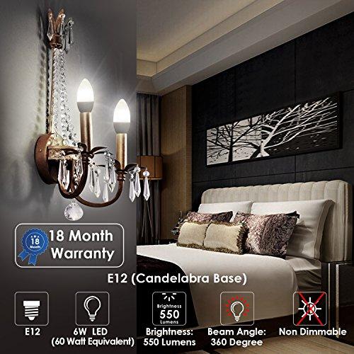 Albrillo E12 Bulb Candelabra LED Bulbs, 60 Watt Equivalent, Daylight White 5000K LED Chandelier Bulbs, Candelabra Base, Non-Dimmable LED Lamp, 4 Pack