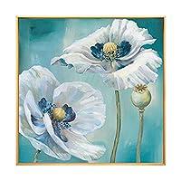 新鮮でエレガントな白い花の植物、キャンバスに手描きの油絵絵画3D抽象アートワークアートウッドフレームなし壁掛け装飾抽象絵画、130X130Cm(52X52Inch)