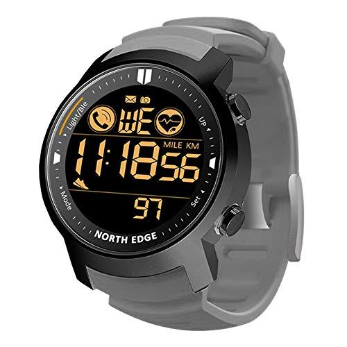 Reloj Deportivo electrónico Multifunción al Aire Libre 50M Reloj de Pulsera Bluetooth Impermeable con frecuencia cardíaca Cronómetro de calorías Recordatorio de Llamada SMS para Correr Nadar