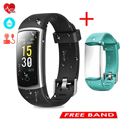 CHEREEKI Fitness Tracker, Orologio Fitness Braccialetto Pressione Sanguigna Cardiofrequenzimetro da Polso Impermeabile IP68 Smartwatch Contapassi Calorie Corsa Sport Watch (Nero+Verde)